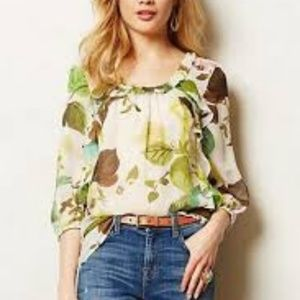 Anthropologie Leifsdottir 100% silk blouse
